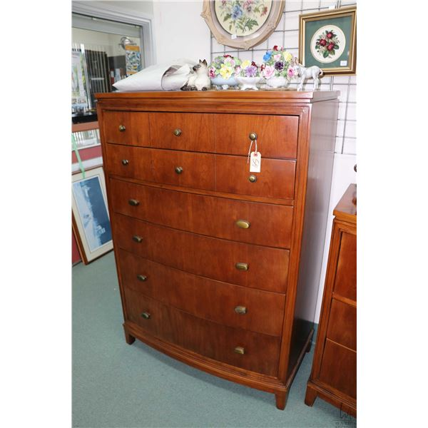 """Modern six drawer high boy with curved front 55"""" in height"""
