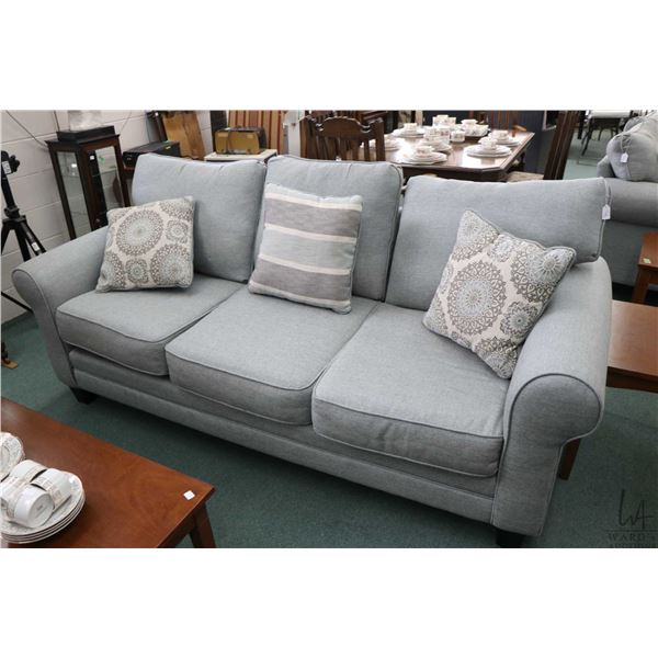 """Three seat full size sofa and matching loveseat fabric labelled """"Grand Mist"""" and marked American Mad"""