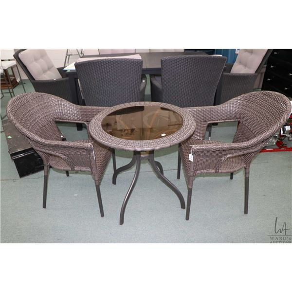 """Three piece patio solarium set including 26"""" diameter table and two chairs"""