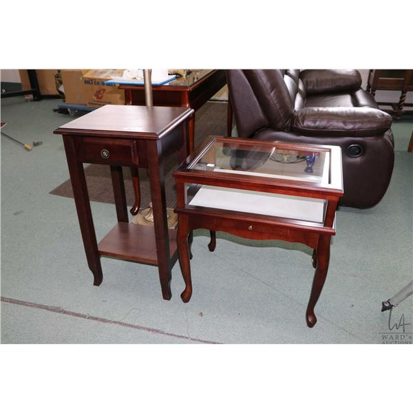 """Single drawer 29"""" high occasional table with under shelf and modern lift top display vitrine"""