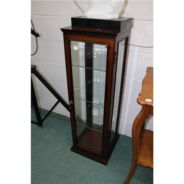 """Modern single door display/statuary stand with three glass shelves, 39"""" in height"""