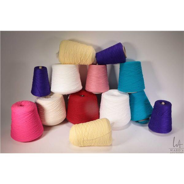 Twelve cones of knitting machine/ hand kitting yarn including 1 lb. cone of 100% acrylic Multi-Marl