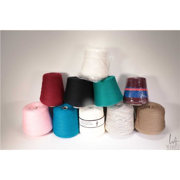 Eleven full or near full cones of knitting machine /knitting yarn including Yeoman Casmillion 4 ply