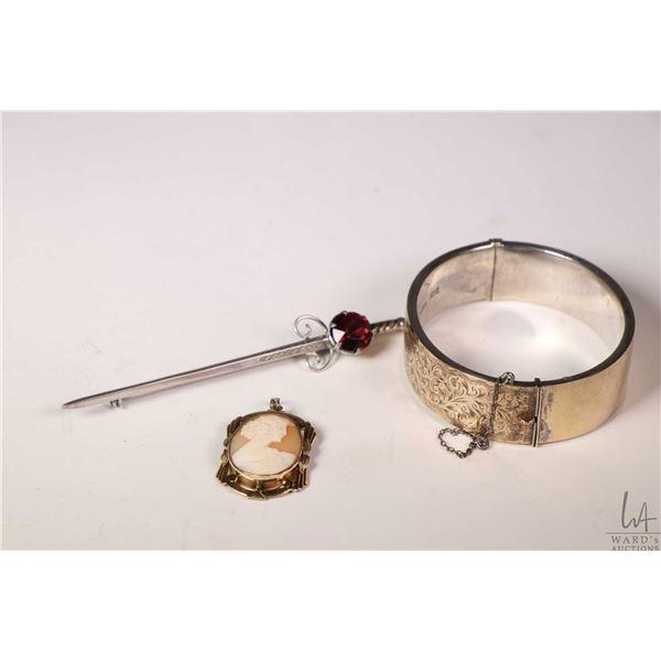 Birks vintage sterling hinged bracelet with engraved scroll work and 9ct gold wash, vintage cameo br