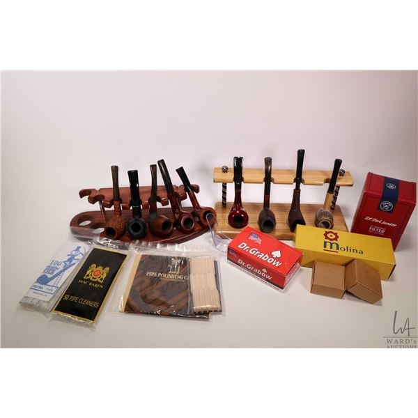 Selection of collectible pipes and pipe supplies including Kriswill, Molina, Monaco, French made pip