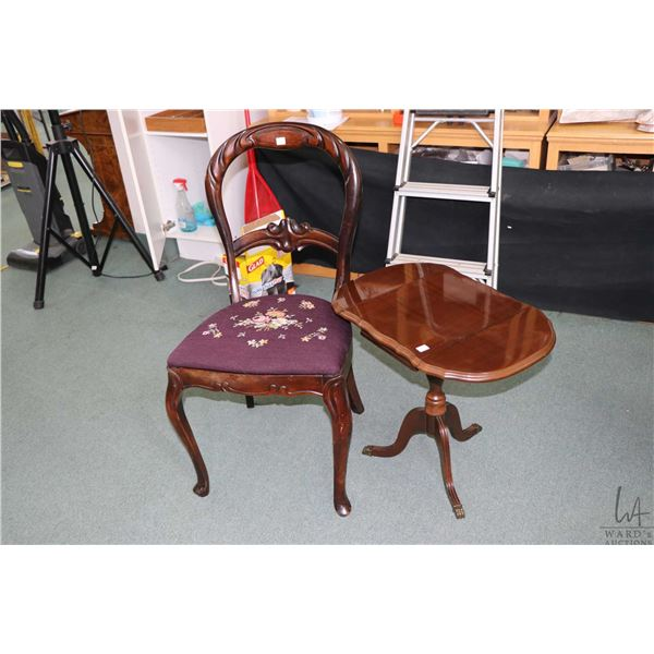 Vintage needlepoint upholstered side chair and a small single pedestal drop leaf occasional table ma