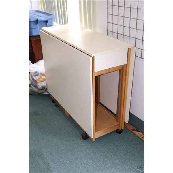 """Folding cutting out/craft table 40"""" X 15"""" top plus two 28 1/2"""" drop leaf plus single drawer"""