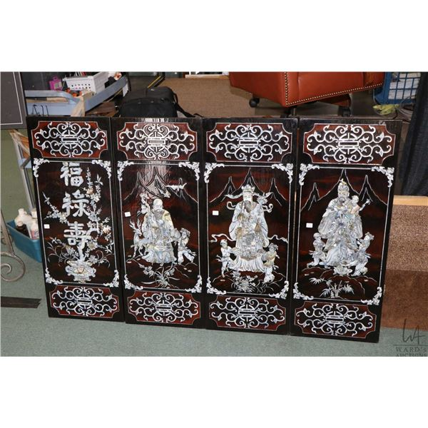 Four piece Oriental lacquered panels with inlaid mother-of-pearl  figures and scroll work, each pane