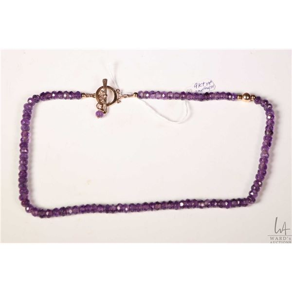 """Amethyst gemstone beaded necklace with 9kt rose gold clasp and bead 18"""" in length"""