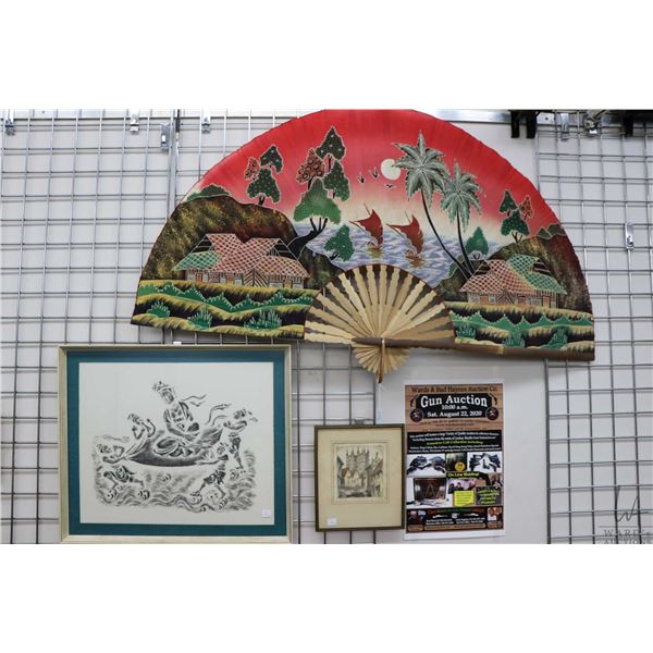 """Large cotton Asian wall fan  57"""" wide and a framed Chinese stone rubbing of a Diety on a cloud 23"""" X"""