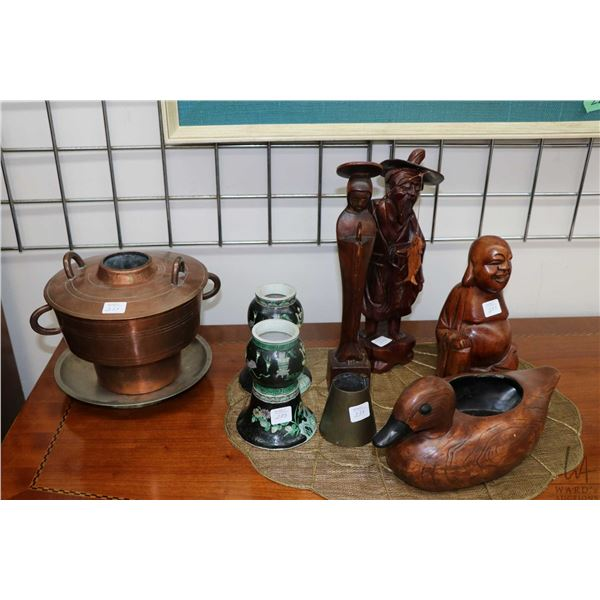 Selection of Asian collectibles including a pair of glazed pottery incense burner ( purportedly 19th