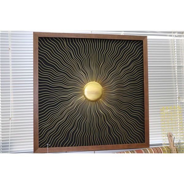 """Large framed metal sunray wall hanging, overall dimensions 35 1/2"""" square. Note: Not Available For S"""
