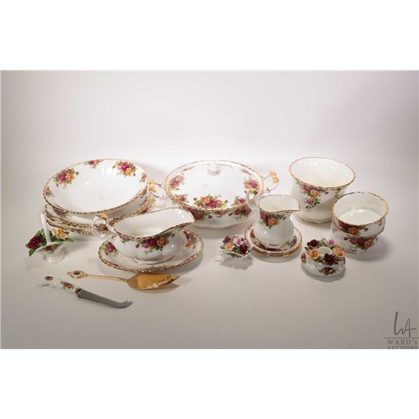 """Selection of Royal Albert """"Old Country Roses"""" bone china serving pieces including lidded double hand"""