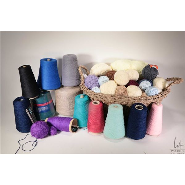 Selection of full and partial cones of knitting machine/hand knitting yarn including Spindlecraft te