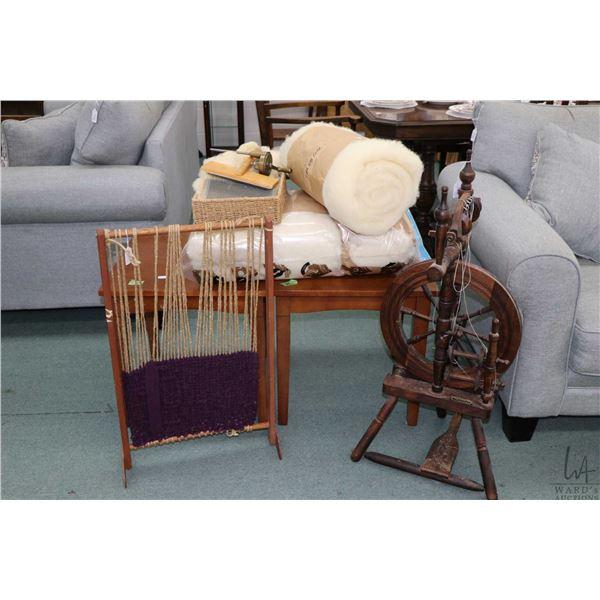 Scottish made Haldane Shetland upright castle spinning wheel, a hand made weaving loom, four bats of