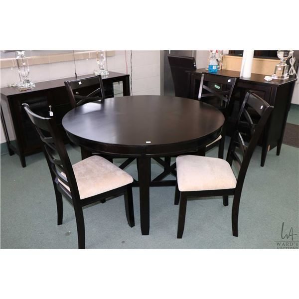 """Modern 48"""" round dining table and four crossed ladder back dining chairs"""