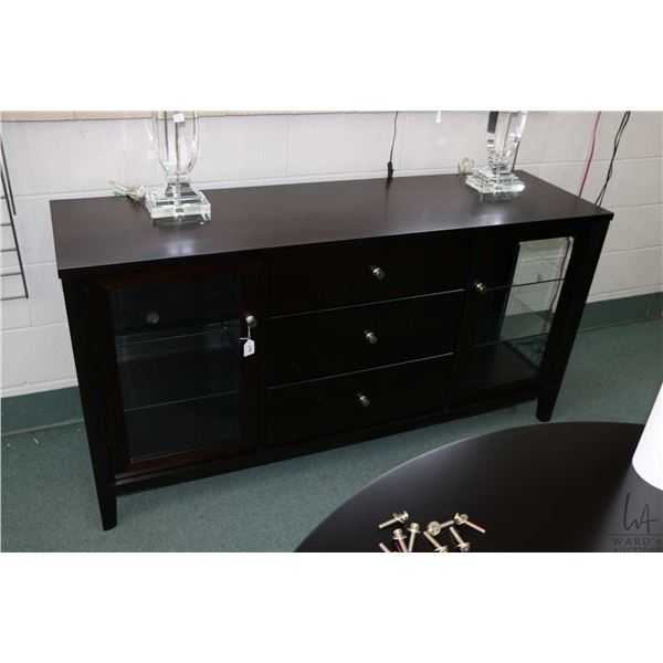 """Modern sideboard with two glazed side displays and lined cutlery drawer by Fubao, 62"""" wide"""