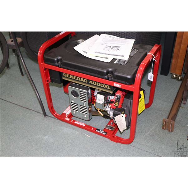 Generac 4000XL gas powered generator with GN-220 7.8 hsp engine, 240 and 120 volt outputs, appears t