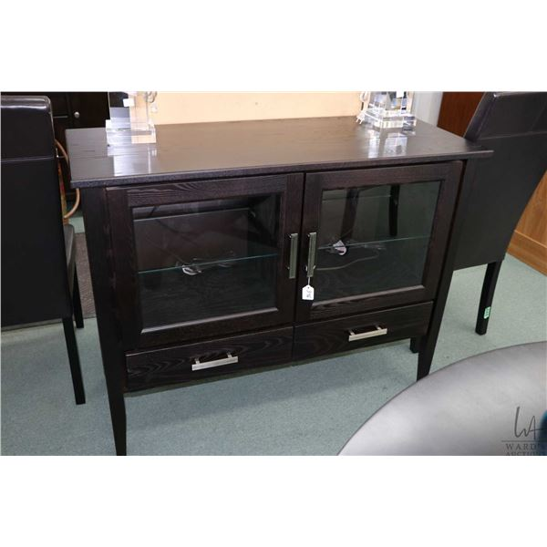 """Small modern sideboard with two glazed doors and two doors, 45"""" wide"""