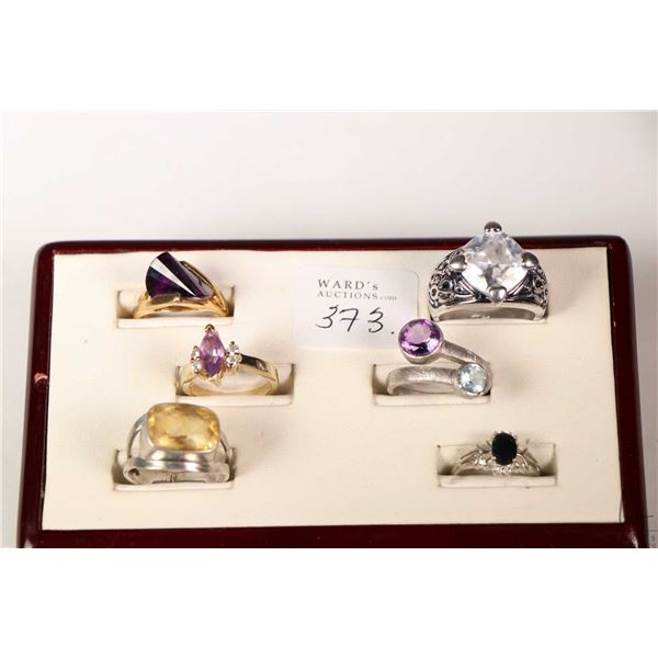 Tray lot of collectible rings including three sterling silver and gemstone set