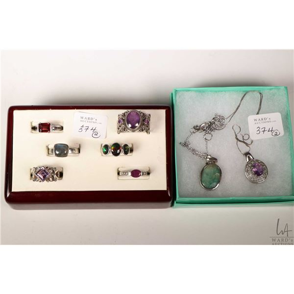 Selection of sterling silver rings including five sterling rings, two pendants and two neck chains p