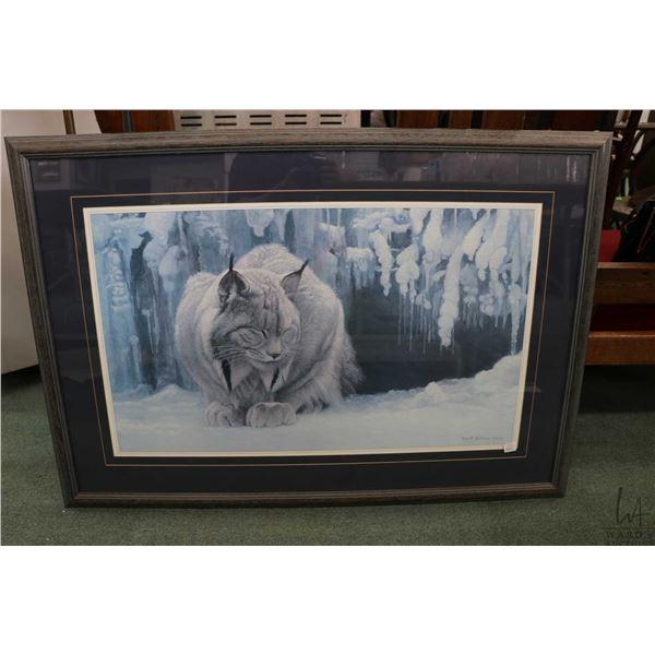 "Framed open edition Robert Bateman print ""Doozing Lynx"""