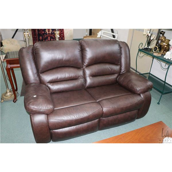 Chocolate brown two seater reclining loveseat made by MYHome Furniture