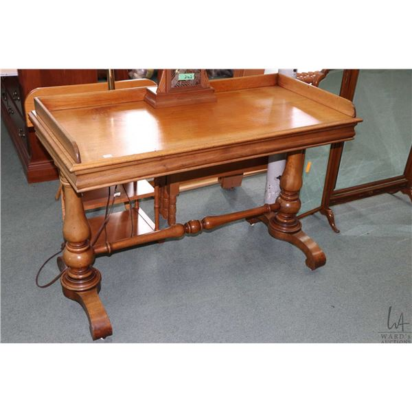 """Antique Victorian mahogany double pedestal server with simple galley, 45"""" wide"""