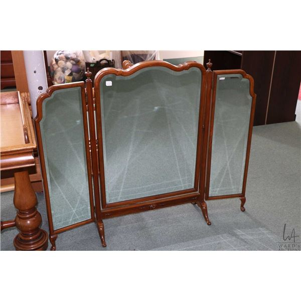 """Antique triple panel bevelled and swinging large vanity mirror, overall dimension 35"""" high and 44"""" w"""