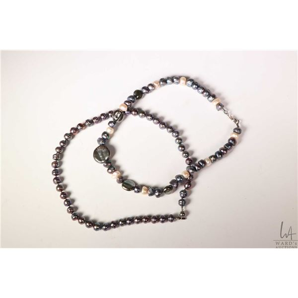 """Two genuine pearl necklaces including 18"""" beaded and a 17"""""""