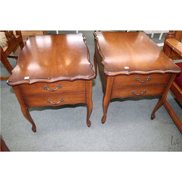 Pair of French Provincial style walnut single drawer side tables