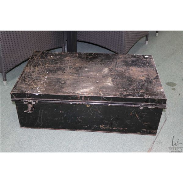 Antique all metal steamer trunk, missing one latch