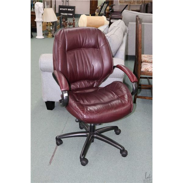 Quality rolling office chair with ox blood red upholstery