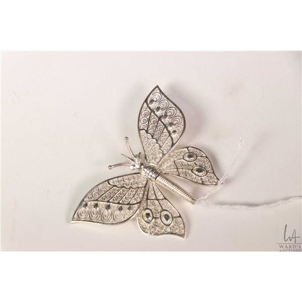 Birks sterling silver articulating butterfly brooch with delicate fiilgree wing