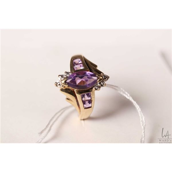 10kt yellow gold ring set with marquise cut and baguette amethyst gemstones, size 9.75
