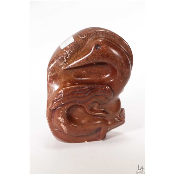 """Multi sided hand carved soapstone entitled """"The Story of Sedna"""" 7 1/2"""" in height and signed by artis"""
