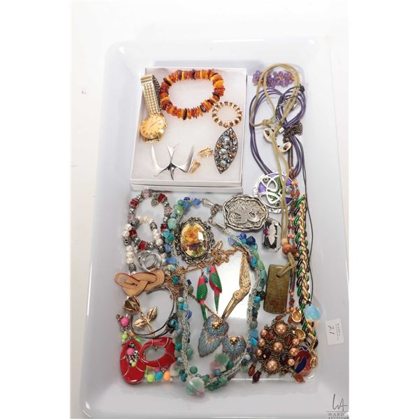 Tray lot of collectible jewellery including Waltham 25 jewel Polemaster wrist watch, not working at