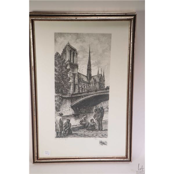 Two framed limited edition etched prints featuring Notre Dame 49/200 and artist at work near Sacre C
