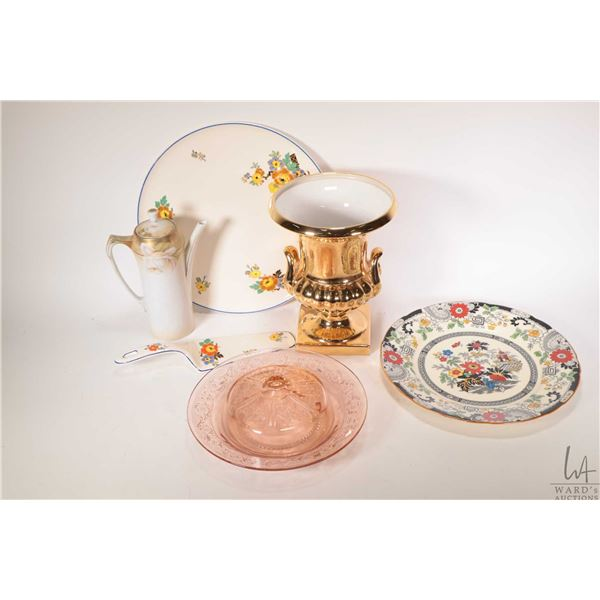 Selection of glass and porcelain collectibles including Tunstall cake plate and matching server, Coa