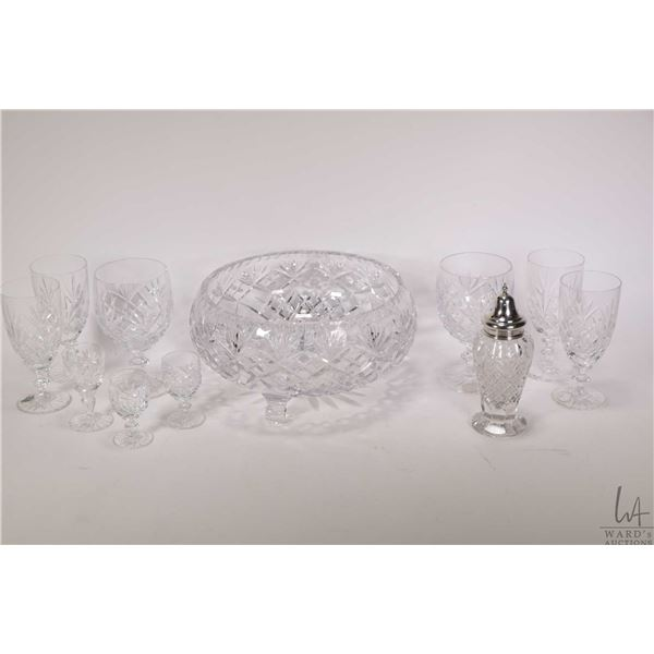 Four Birks crystal wine glasses and two Birks crystal larger wine glasses, three small aperitif glas