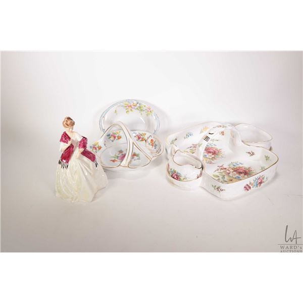 Selection of collectible porcelain including porcelain basket with cream and sugar by Ashley Bone Ch
