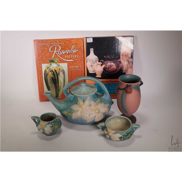 """Early Roseville Clematis teapot, cream and lidded sugar plus a modern 840-7 Pinecone vase 7 1/2"""" in"""