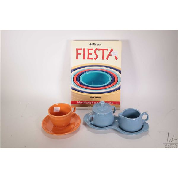 Selection of Fiesta including orange cup and saucer and blue cream, lidded sugar and tray plus a Wor