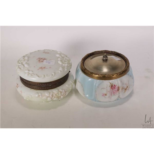 "Two antique Wavecrest lidded dresser jars including hinged lid and a lift lid, each 5 1/2"" in diamet"