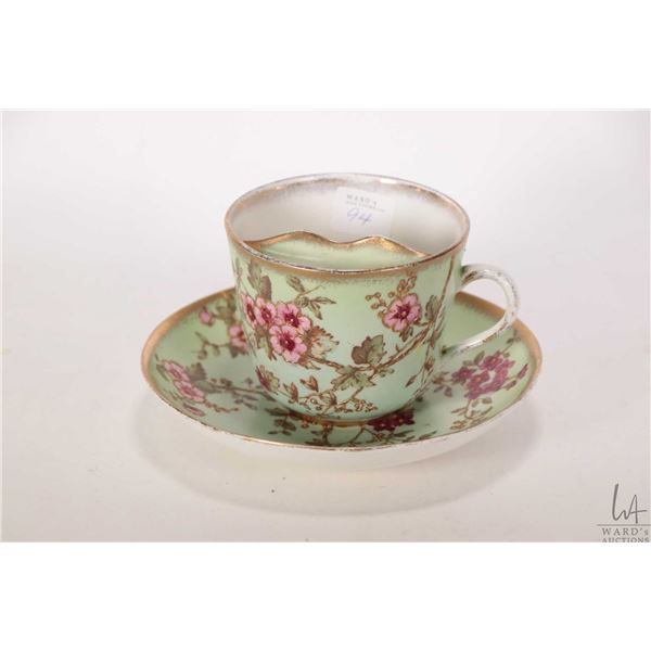 """Antique handpainted mustache cup and saucer personalized """"Present to Joseph Johnson, Born May 20, 18"""