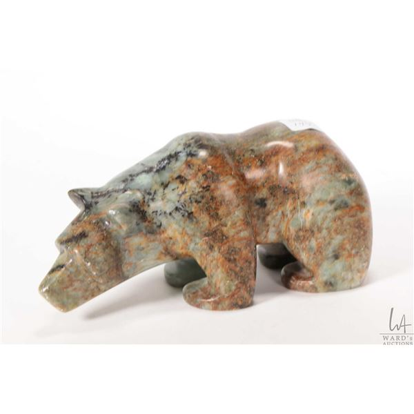 """Carved soapstone bear 8"""" in height, artist signed by not readable"""