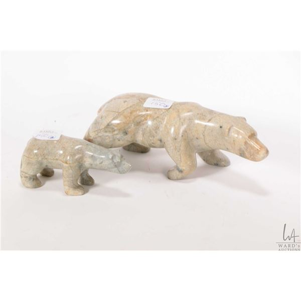 """Two handcarved soapstone bears including a 7 1/2"""" and a 4"""" both initial by artist"""