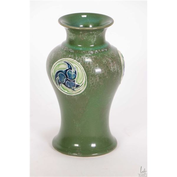 """Moorcroft rare green Flamminian Ware for Liberty & Co. Rd. No. 45277, 6"""" in height"""