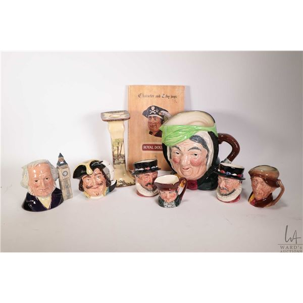 One large and six small Royal Doulton character jugs including Sairey Gamp, two Beefeaters, Capt. He
