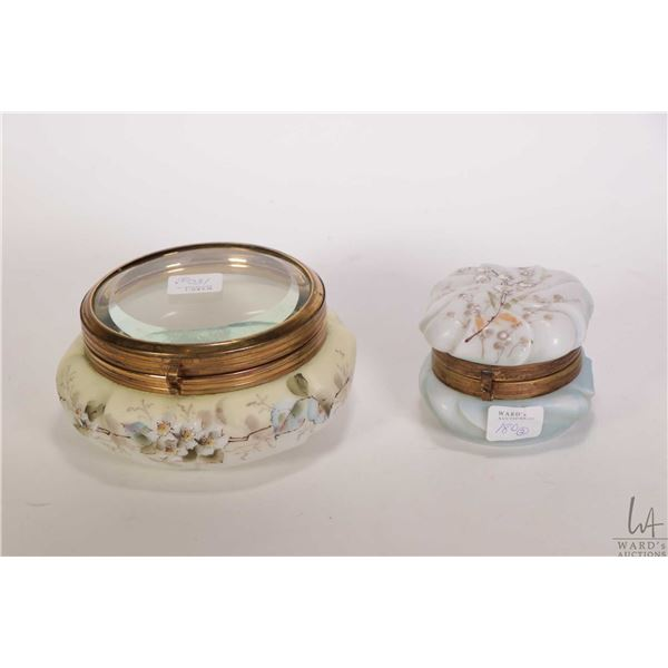 "Two antique Wavecrest hinged lid dresser jar including bevelled clear glass lidded 5 1/2"" and an ena"